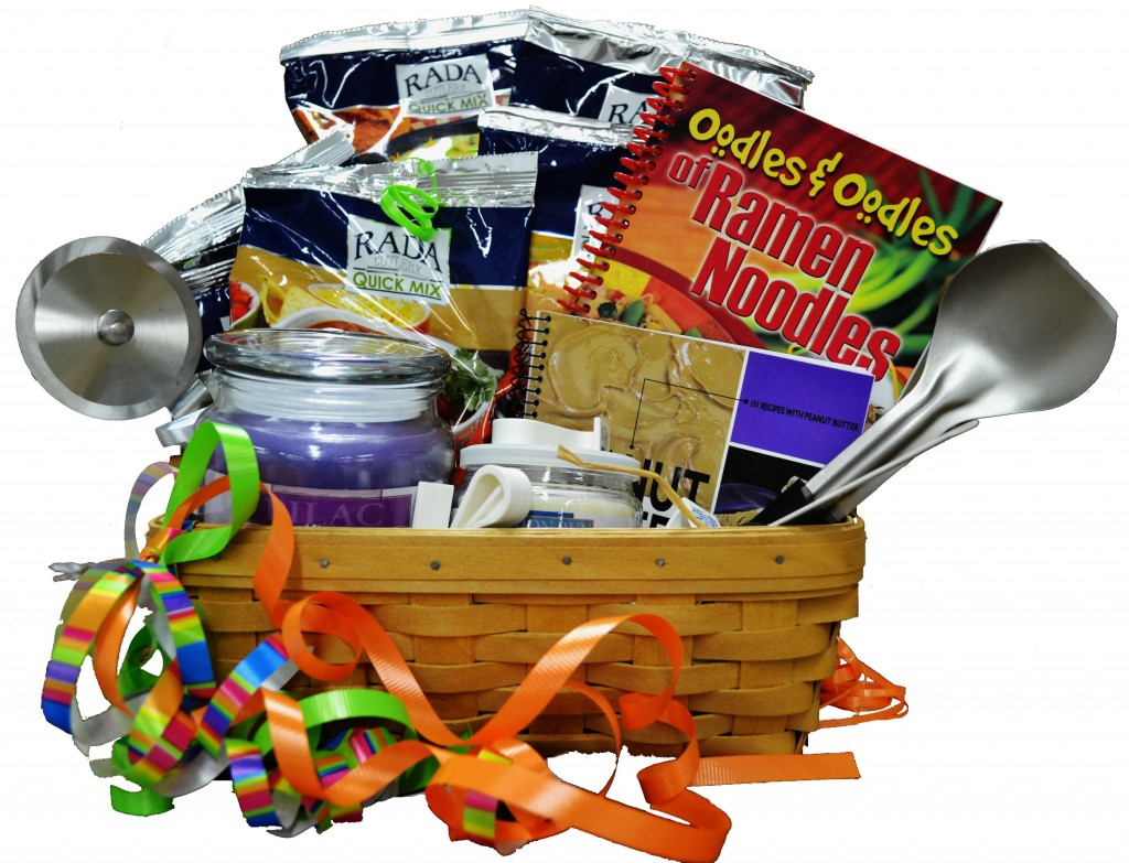 A graduation gift basket filled with Rada Cutlery products.