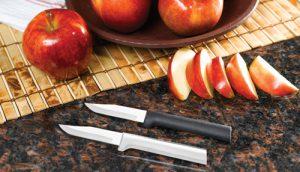 Rada Regular Paring Knives with sliced apples.