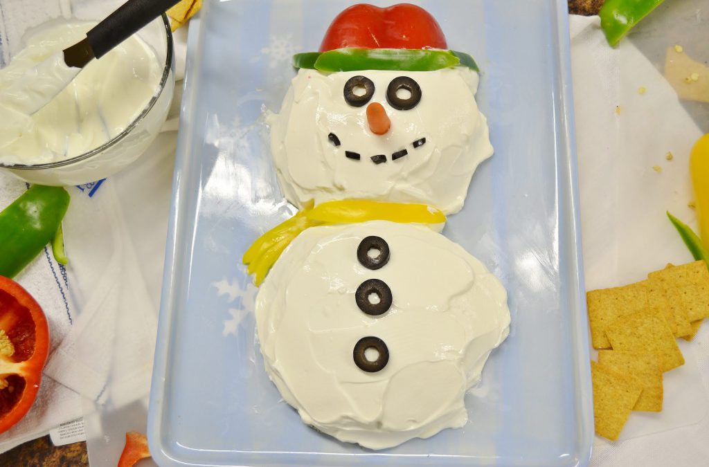 A marvelous snowman party dip made with Rada products.