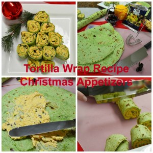 Four images showing how to make an appetizer with Tortilla Wraps cut and placed like a Christmas Tree.