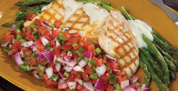 A chicken and pico de gallo dish.