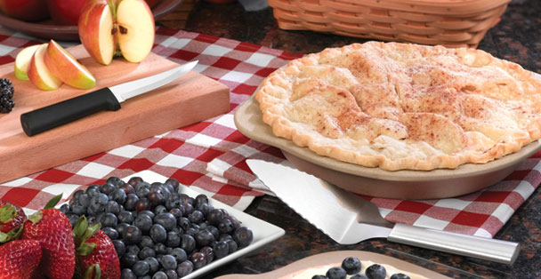 A delicious pie sits alongside Rada Cutlery products.