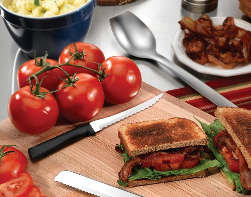 The Rada Tomato Slicer and a BLT sandwich.