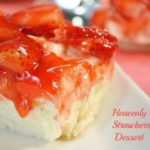A delicious strawberry angel food cake dessert.