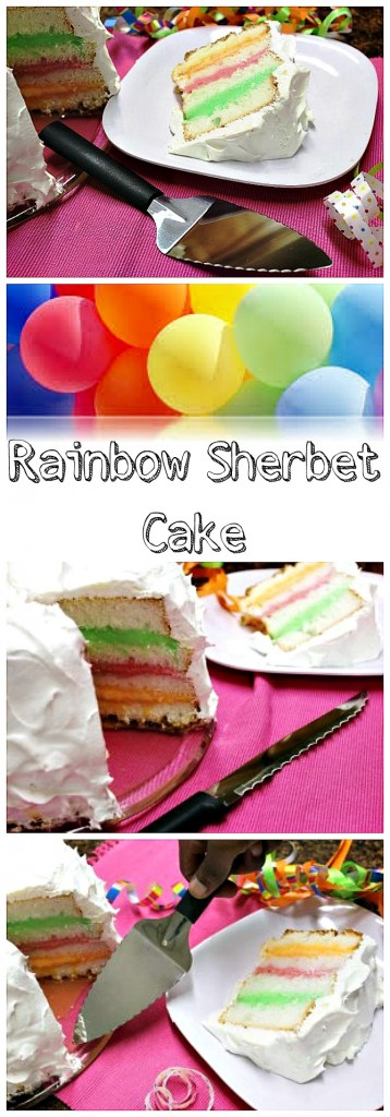Rainbow Sherbet Cake Collage