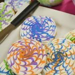 Beautiful spin art sugar cookies with a Rada Party Spreader.