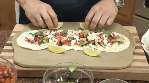 Top with pico de gallo, lime, and cilantro.