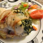 A delicious stuffed chicken breast prepared with Rada Cutlery products.