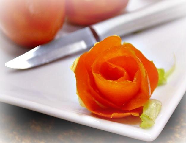 Garnish Ideas | Tomato Rose and Radish Florette
