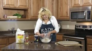 Add yeast mixture to flour mixture.