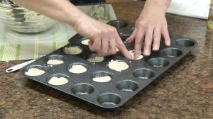 Press into muffin tray.