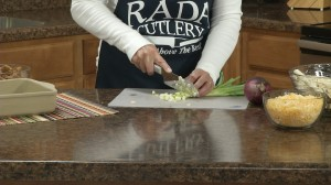 Slice up green onions