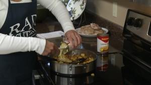 Add chicken broth and wine