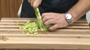 Chop vegetables into small cubes.