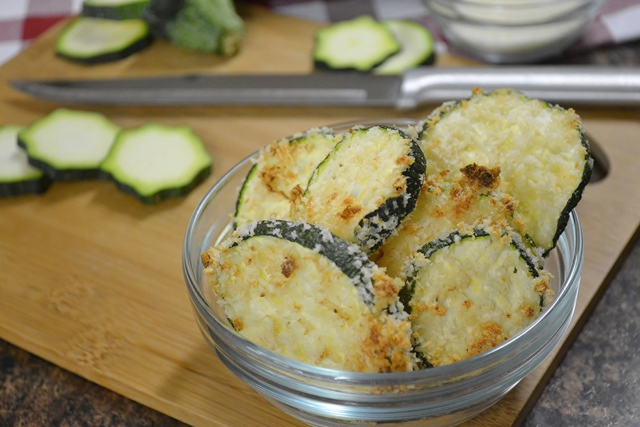 Zucchini Chips with a Rada Cutlery Slicer.