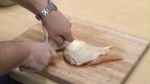 Preparing a chicken wing