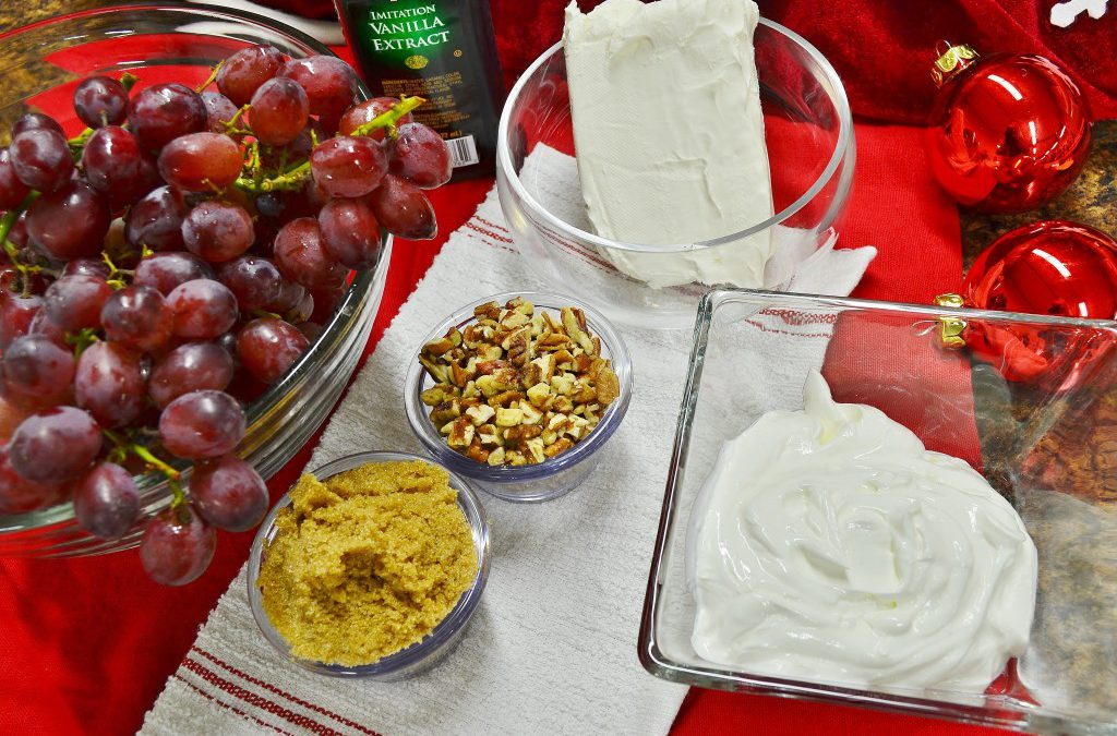 A delicious grape salad prepared with Rada Cutlery products.