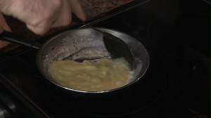 Bechamel Sauce cooking on the stove top.