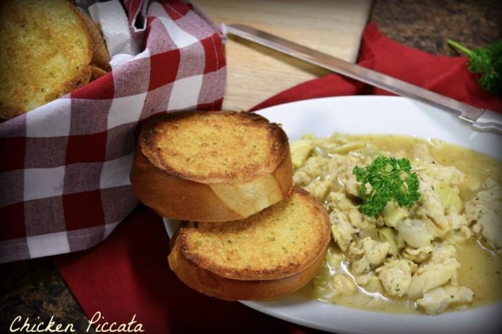 A delicious chicken piccata dish.