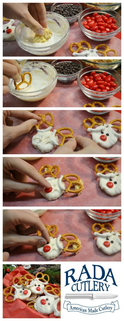Rada blog post for creating cute reindeer treats using pretzels, frosting, etc.