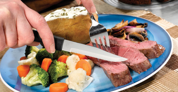 This serrated knife is a great option for any meat cutting!