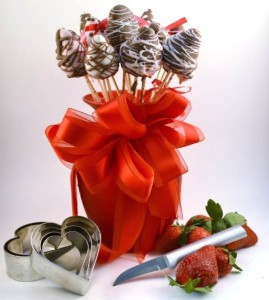 Chocolate Dipped Strawberries in a vase
