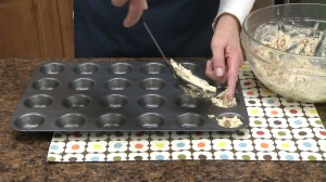 place a large spoonful of mix in each spot