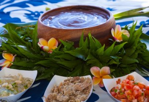A delicious luau food spread.