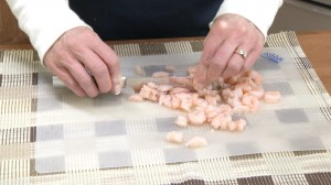 chopping up the shrimp