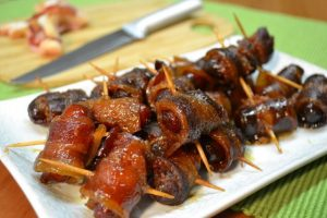 Delicious bacon-wrapped little sausages.