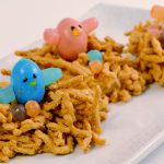 An adorable chow mein bird's nest treat made with Rada Cutlery products.