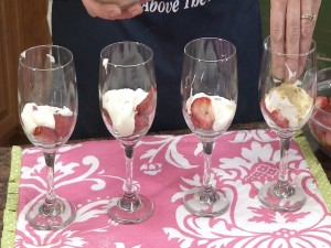 Yogurt in wine glasses