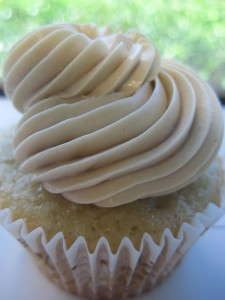 A cupcake with delicious buttercream frosting.