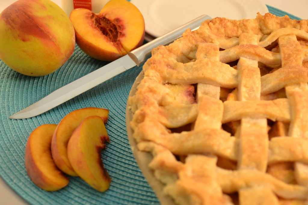 A beautiful lattice pie crust and a Rada Slicer.