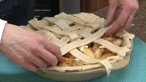 Placing lattice pie crust strips
