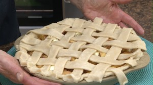 Completed lattice pie crust