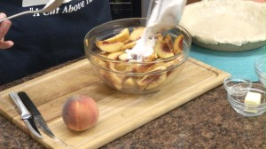 peach mixture being made