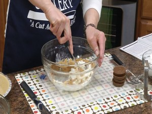 Mixing cream cheese and peanut butter for Peanut Butter Pie
