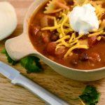 A bowl of taco soup and a Rada Granny Paring knife.