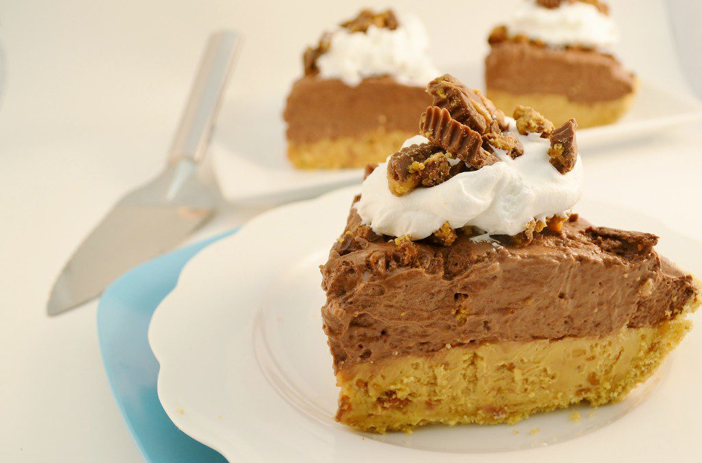 Chocolate Peanut Butter Pie Recipe | No Bake Double-Layer Pie