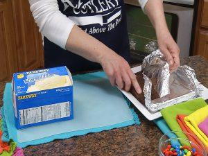 Preparing Giant Brownie Ice Cream Sandwich