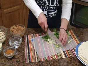 Chopping onions with Rada French Chef Knife