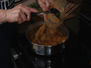 Adding refried beans to chicken