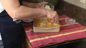Adding topping to Buffalo Mac & Cheese