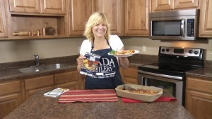 Kristy with completed Spicy Sausage Manicotti