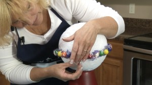 Gluing gumballs to Styrofoam ball