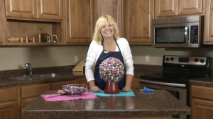 Kristy with completed Gumball Machine Candy Bouquet