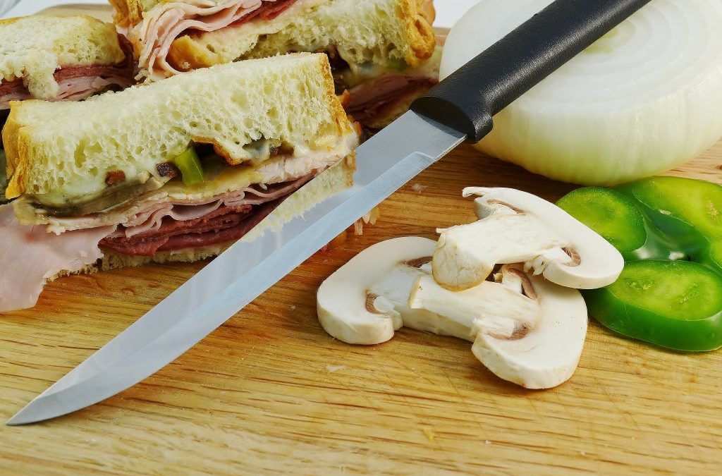 Hot Deli Sandwiches with the Rada Stubby Butcher Knife.