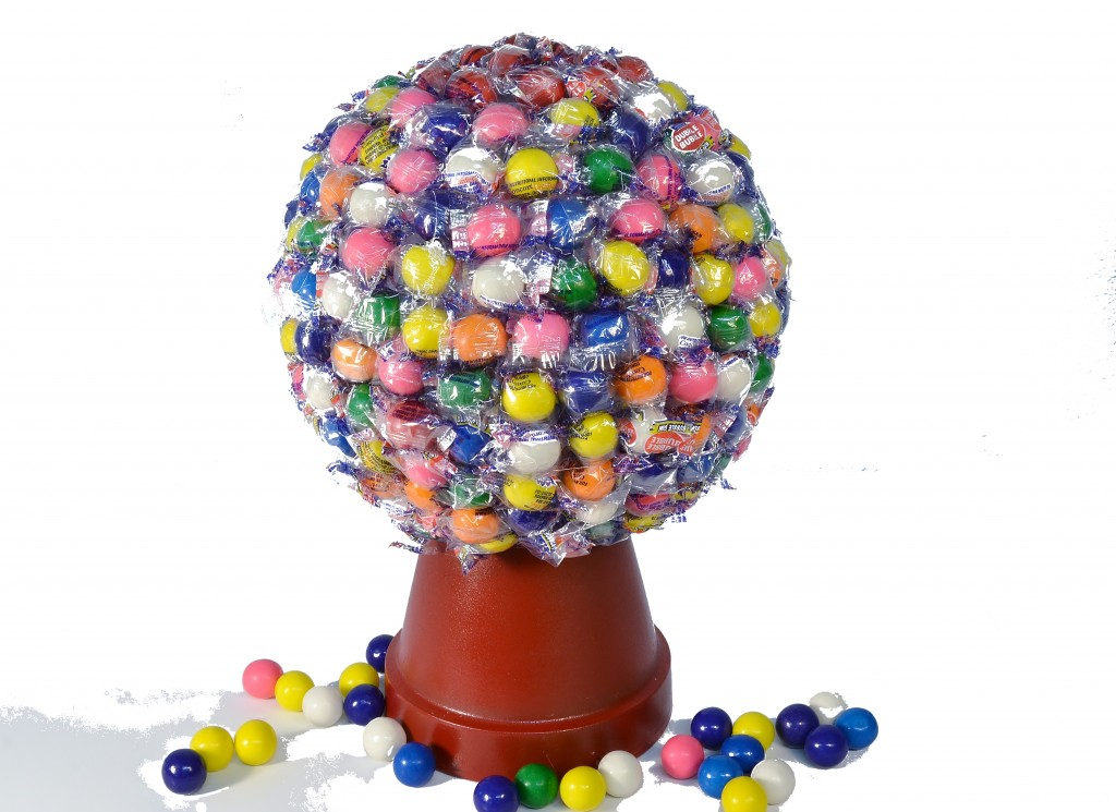 A gumball machine candy bouquet.