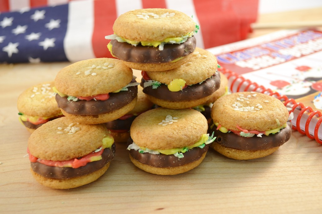 A stack of cute hamburger cookies made in the Rada Cutlery kitchen.
